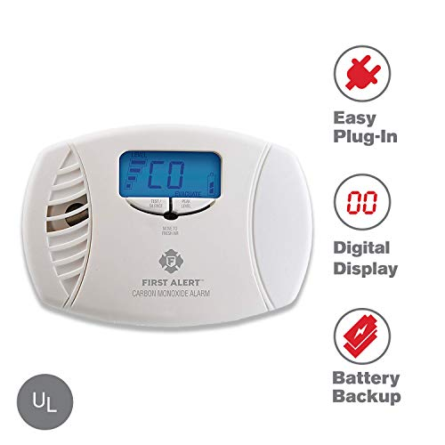 Kidde Co Detector - First Alert Dual-Power Carbon Monoxide Detector Alarm | Plug-In with Battery Backup and Digital Display, CO615