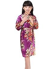 QZKFJ Pijamas de Las señoras, Familia Pijamas, Impreso de Vestir a los niños del Vestido de la Primavera y Delgado Otoño Sección Dulce Señora Satinado Pijamas (Color : E, Size : 4)
