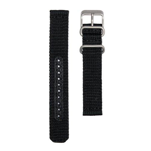 Seiko Chronograph Black Nylon 18Mm Watch Band - Black, 18Mm, Regular by Seiko