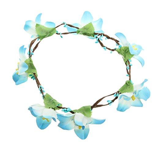La Vogue Women's Blue Flower Crown Wreath Floral Garland Headbands (Blue)
