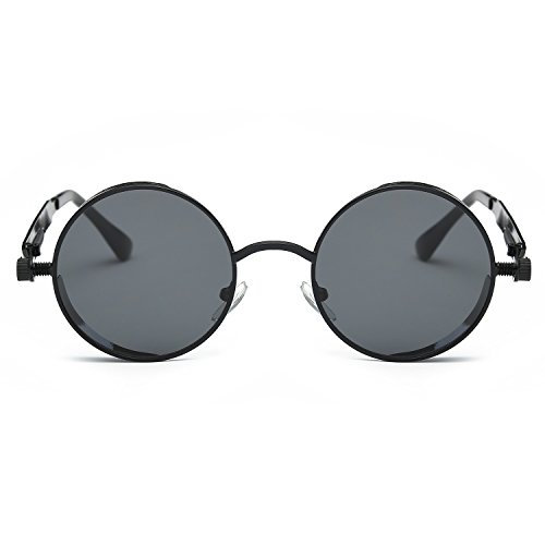 Round Eyewear Retro New Mirrored Sunglasses Punk Frame Gray Vintage Steam Fashion CVOO Black wqSAYzq