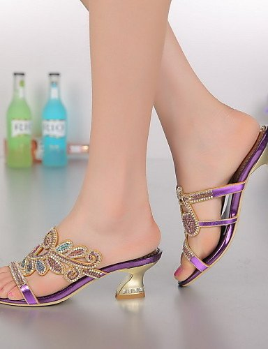 Dress ShangYi golden Purple Women's Evening Shoes Gold amp; Party Heels Casual Chunky Heel Leather Sandals vvfqwHr