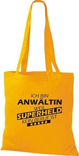 Shirtstown Bolso de tela Estoy Abogado, weil Superheld sin Trabajo ist amarillo dorado