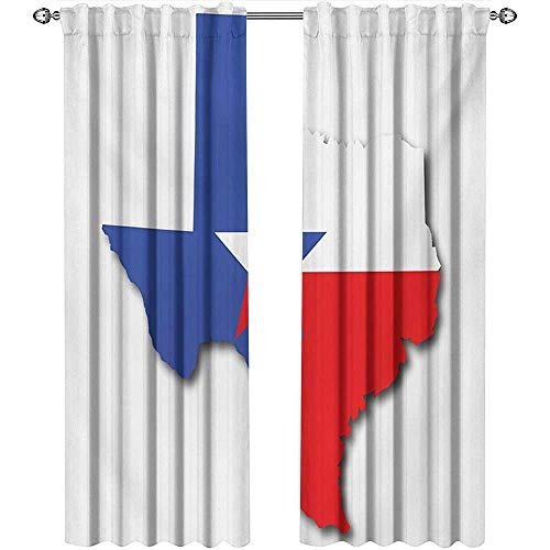 Returiy Texas Star, Curtains Modern, Outline of The Texas Map American Southwest Austin Houston City, Curtains for Party Decoration, W108 x L108 Inch, Vermilion White Violet Blue ()