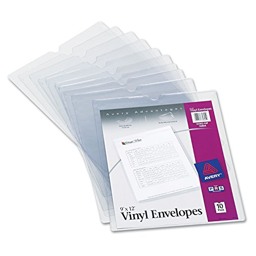 Avery Vinyl Envelopes - Avery 74804 Top-Load Clear Vinyl Envelopes w/Thumb Notch, 9
