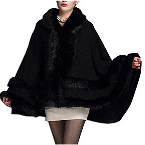 Trim Cape Hooded (Women's Faux Fox Fur Trim Hooded Cape Wool Blend Cloak Winter Warm Coat Plus Size (black))