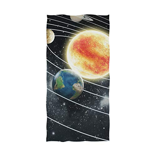 LORVIES Solar System Bath Towel Quick Drying Beach Towel for Home Bathroom Pool and Gym 32 X 64 Inches by LORVIES