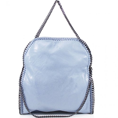 Women's Chain Large Bag Soft Tote Blue Light Handbags Foldable Shoulder Bags 04 qBZwqr1