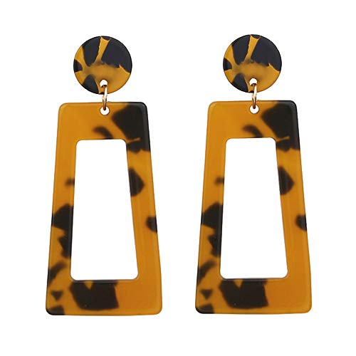 (1 Pair Ladies Personality Creative Acetate Plate Geometry Long Square Earrings Jewelry Gifts (Brown))