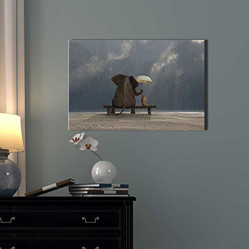 Elephant and Dog Sit under the Rain Wall Decor ation