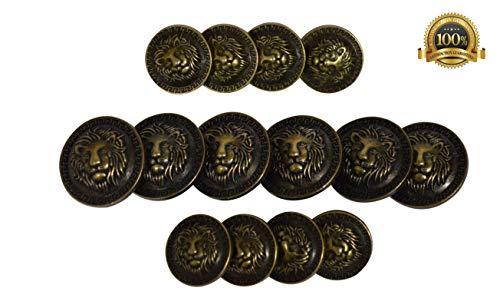 Set of 14 Premium Metal Lion with Greek Key Buttons for Sport Coats, Blazers, and Suit Jackets (Antique Bronze)