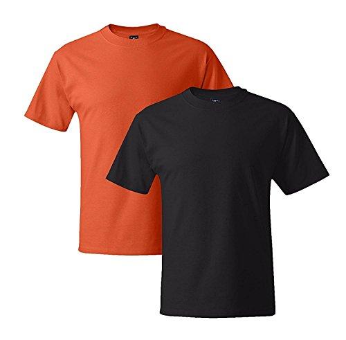 Hanes Mens 5180 Short Sleeve Beefy T, 1 Black/1 Orange 1 Black / 1 Orange