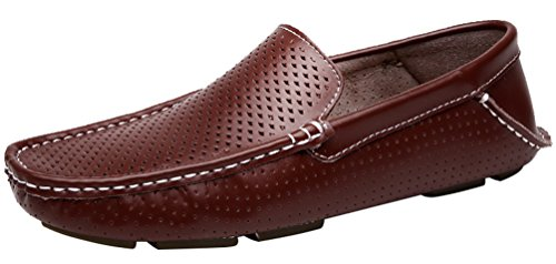 CFP 1717 Mens Fashion Leather Loafers Casual Soft Holes Slip-on Moccasins Driver Shoes Brown