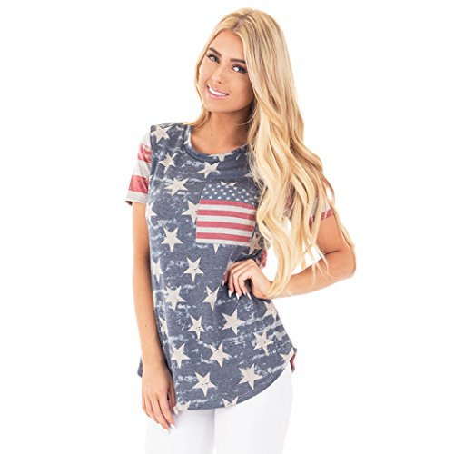 Poptem Womens Casual American Flag T Shirt Short Sleeve Tee Shirts Camo USA Patriotic Summer Blouse Tops