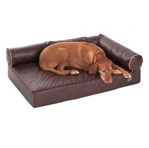 Comfortable Orthopaedic Memory Foam Dog Bed w  Removable Cover In Brown, Distressed Faux Leather. Very Hygienic. Ideal For Older Dogs Or Those With Joint Issues. (110 x 70 x 32 cm (L x W x H))