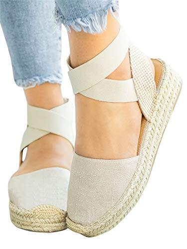 Womens Flatform Espadrilles Elastic Criss Cross Strappy Closed Toe Sandals