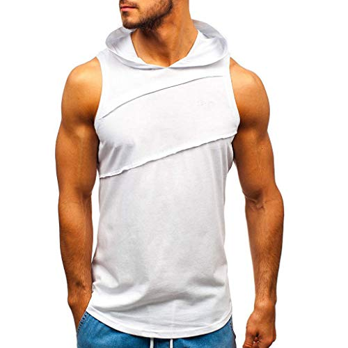 Bsjmlxg 2019 Spring and Summer New Men's Fashion Leisure Sport Fitness Striped Patchwork Vest Sleeveless Hoodie White