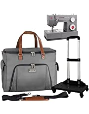 La Canilla Sewing Machine Case on Wheels with Detachable Trolley Base   Rolling Tote Bag Compatible with Brother, Singer and Others   Accessories Storage, Shoulder Strap and Removable Padded Board