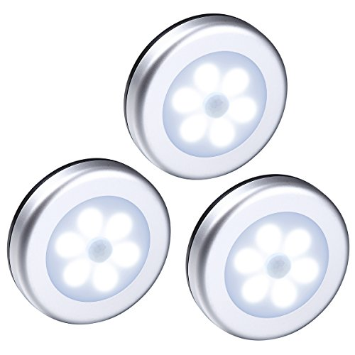 ORIA Motion Sensor Light, LED Night Light, Stick-Anywhere Wall Light, Closet Lights Stair Lights, Safe Lights with Magnetic Strip, for Bathroom, Bedroom, Lockers, Kitchen (Pack of 3)