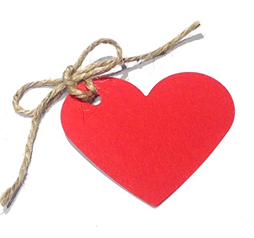 10 Red Heart Shaped Gift Tags / Hang Tags / Wedding Favor Tags with Jute Twine - (100% Recycled Card) - 70mm x 60mm by Tribe