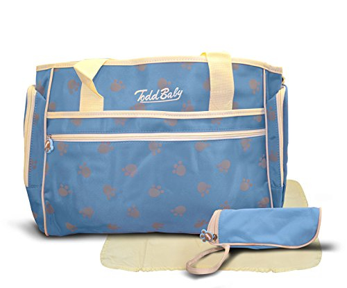 Todd Baby Official Brand New 3 Pc Paw Blue Quilted Bottle Holder Set Diaper Nappy Changing Stylish Designed Strap 13.8 x 15.8 x 2.8 inches Shoulder Bag