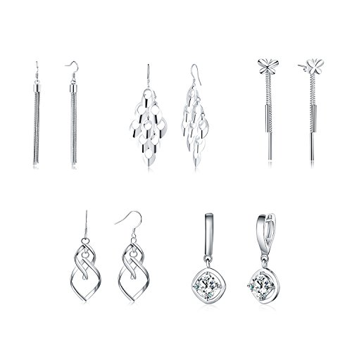 925 Silver Dangle Drop Fish Hook Earrings Set of 5 Jewelry Set for Women Teens Little Girls Kids (Hook Earrings Set)