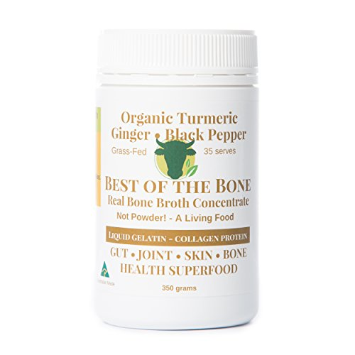 Organic Beef Bone Broth Gelatin Turmeric & Black Pepper - Supports Joint Health, Boost Immunity - Fresh, Natural Ingredients for Delicious Paleo & Gluten Free Diet Friendly Broth Soup Stock
