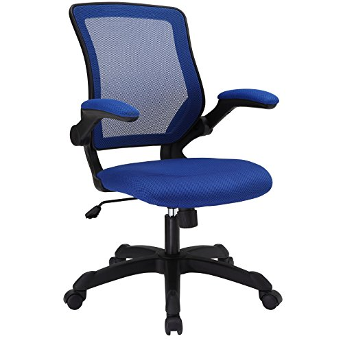 Modway Veer Office Chair with Mesh Back and Blue Vinyl Seat With Flip-Up Arms - Ergonomic Desk And Computer Chair by Modway
