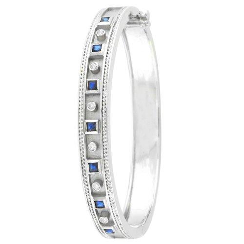Diamond & Sapphire Bangle Bracelet - 7