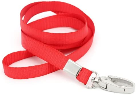 CKB Ltd 10x Premium Red Rojo Acollador ID Correa Cuello Divisa Dolsa Tarjeta Clave Tenedor Colgante Cuello Cinta Lanyard Neck Strap Swivel Metal Clip For ID Card Holder 46cm: Amazon.es: Oficina y