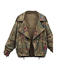 Women Vintage Floral Print Camouflage Military Army Denim Jackets Outoats Plus Size