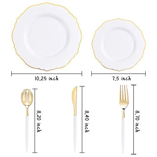 WDF 30Guest Gold Plastic Plates & Disposable 10.25inch, White&Gold