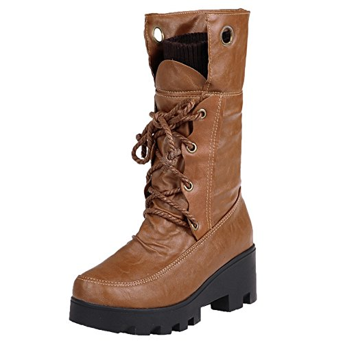 COOLCEPT Botas Tacon Mujer Yellow Retro Warm Inner las 361 medio En LH 7p76Hwqnr