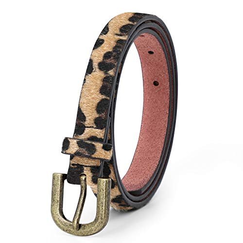 JASGOOD Women Leopard Skinny Belt Animal Print Belt for Ladies Jeans Dress Pants Waist Belt with Retro Buckle 0.79Inch Wide(Copper Buckle,Pant size 41-44Inch)