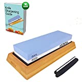 Premium Knife Sharpening Stone Kit, 2 Side 1000/6000 Grit Whetstone, Best Kitchen Blade Sharpener Stone, Non-Slip Bamboo Base & BONUS Angle Guide Included for Chef, Kitchen, Pocket Knife and Scissors