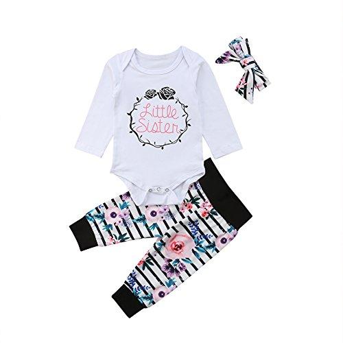 Newborn Toddler Girl Clothes Little Sister Big Sister Bodysuit White Shirt+Floral Striped Pants+Headbands 3Pcs Outftis Set(3-6M)