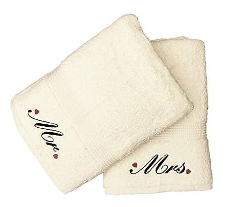 Bordado Señor y señora toallas de baño con diseño de corazones (crema)