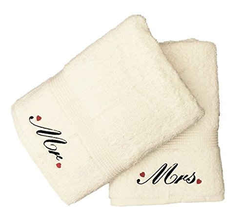 Embroidered Mr and Mrs Bath Towels with Hearts Motif (Cream) Niche Embroidery
