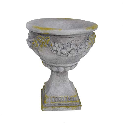 Urns Planters Containers Garden (Nina Chalice Garden Urn Planter, Roman, Botanical, Lightweight Concrete with Gray Moss Finish)