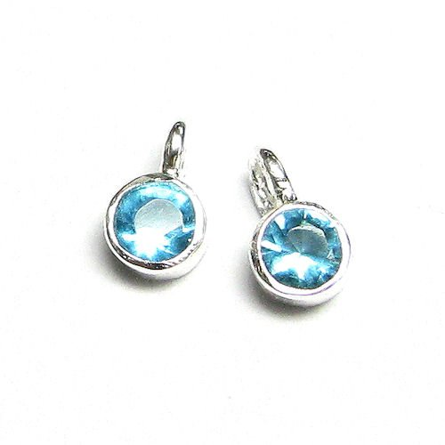 4 pcs .925 Sterling Silver Round Aquamarine Cz Crystal Dangle Bead Charm Pendant 6.5mm / Findings / Bright