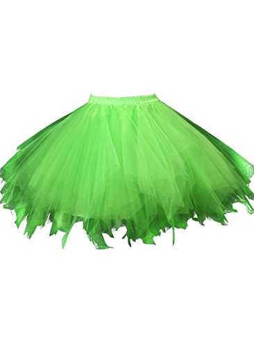 [Kileyi Women's Tutu Costume Adult Tulle Skirt Short 1950s Vintage Petticoat Grass M] (Neon Party Outfits)