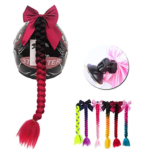 3T-SISTER Helmet Pigtails Gradient Ramp Helmet Braids Ponytail Helmet Hair with Suction Cup with Bowknot for Motorcycle Bike 1PCS 24inch-Ombre Black to RED