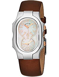 Signature Womens Stainless Steel Dual Time Zone Watch - Mother of Pearl Face Natural Frequency Technology