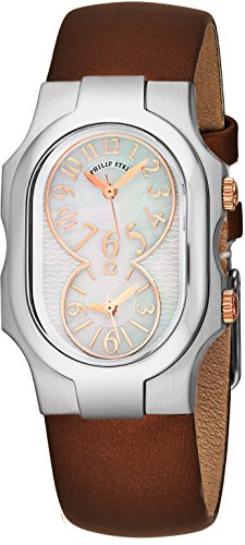 Philip Stein Signature Womens Stainless Steel Dual Time Zone Watch - Mother of Pearl Face Natural Frequency Technology Ladies Watch - Brown Satin Leather Band Analog Quartz Watches for Women