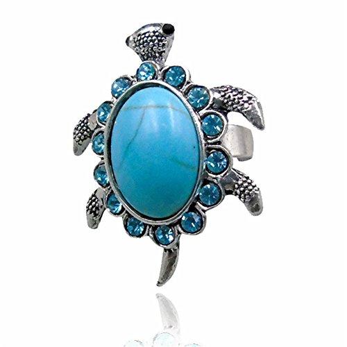 Vintage Turquoise Rhinestone Rings for Women Fashion Retro Longevity Turtle Finger Rings Jewelry - Enamel Turtle Ring