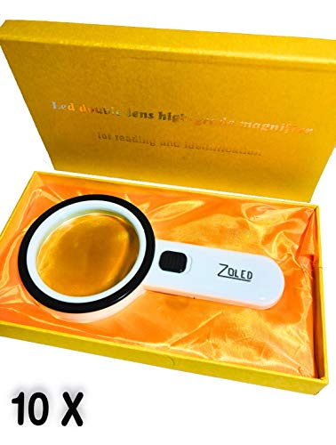 ZOLED Large LED Magnifying Glass 10X, Lighted Magnifier Handheld for Reading, Seniors or Macular Degeneration, Coins, Maps, Jewelry, Watch Repair, Stamps