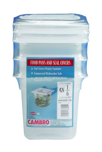 Cambro Set of 3 Translucent Food Pans and Seal Covers GN 1/6 Size, 6 Inch Deep