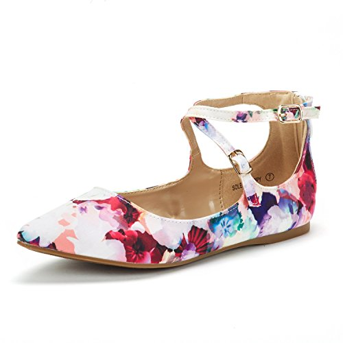 Floral Ballerina Dress - DREAM PAIRS Women's Sole-Strappy Floral Ankle Straps Flats Shoes - 7 M US