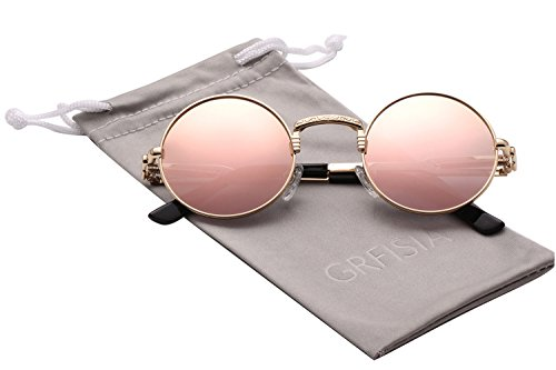 Polarized Steampunk Sunglasses for Women Men Metal Frame Round Retro Glasses (Pink-mirror gold frame)