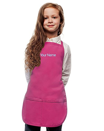 [Personalized Hot Pink Kids Apron, Poly/Cotton Twill Fabric (Extra Large)] (Chef Costumes For Kids)